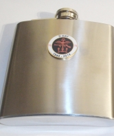 D Day 70th Round Badge Hip Flask