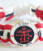 D Day 70th Anniversary Paracord Wristband Round Ba