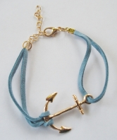 40 Commando Ladies Pale Blue Fouled Anchor Bracele