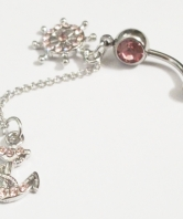 Ladies Belly Button Ring - Pink