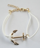 42 Commando Ladies White Fouled Anchor Bracelet